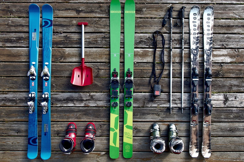 skis boots gear